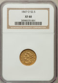 Liberty Quarter Eagles: , 1847-O $2 1/2 XF40 NGC. NGC Census: (26/227). PCGS Population(23/89). Mintage: 124,000. Numismedia Wsl. Price for problem ...