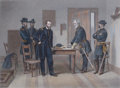 Prints, SURRENDER OF GENERAL LEE. 18-1/4 x 19-3/4 inches (46.2 x50.1 cm). Framed tinted engraving of General Lee's surr...