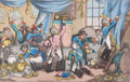 Prints, KING JOE AND CO. MAKING THE MOST OF THEIR TIME PREVIOUS TOQUITTING MADRID. 19th century. Color engraving. 9-1/2 x 13in...