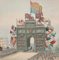 Prints, THE TRIUMPHAL ARCH, ERECTED FOR KING WILLIAM IV & QUEENADELAIDE. 19th century. 12-1/4 x 10 inches (31.1 x 25.4 cm).Col...