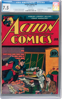 Action Comics #32 Billy Wright pedigree (DC, 1941) CGC VF- 7.5 White pages