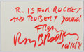 Autographs:Authors, Ray Bradbury (1920-2012, American Science Fiction Writer). Signed and Inscribed Card. Fine....
