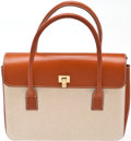 Luxury Accessories:Bags, Heritage Vintage: Lambertson Truex Kenya Canvas and Tan LeatherSmall Box Car Tote. ...
