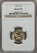 Jefferson Nickels, 1944-D 5C MS66 5 Full Steps NGC. NGC Census: (271/129). PCGSPopulation (1531/235). Numismedia Wsl. Price for problem free...