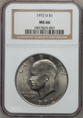Eisenhower Dollars: , 1972-D $1 MS66 NGC. NGC Census: (299/4). PCGS Population (342/5). Mintage: 92,548,512. Numismedia Wsl. Price for problem fr...