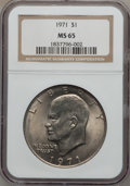 Eisenhower Dollars: , 1971 $1 MS65 NGC. NGC Census: (586/33). PCGS Population (716/41). Mintage: 47,799,000. Numismedia Wsl. Price for problem fr...