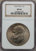 Eisenhower Dollars: , 1976 $1 Type Two MS66 NGC. NGC Census: (293/3). PCGS Population (440/9). Mintage: 113,318,000. Numismedia Wsl. Price for pr...