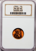 Lincoln Cents: , 1942 1C MS67 Red NGC. NGC Census: (770/0). PCGS Population (126/0).Mintage: 657,828,608. Numismedia Wsl. Price for problem...