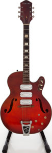 Musical Instruments:Electric Guitars, 1960 's Silvertone H1454 Redburst Semi-Hollow Body Electric Guitar....