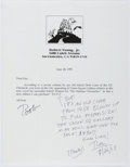 Autographs:Authors, Ray Bradbury (1920-2012, American Science Fiction Writer). Autograph Letter Signed. Written on recipient's original letter. ...