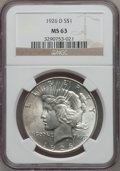 Peace Dollars: , 1926-D $1 MS63 NGC. NGC Census: (642/1564). PCGS Population(1227/2351). Mintage: 2,348,700. Numismedia Wsl. Price for prob...