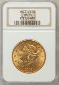 Liberty Double Eagles: , 1903-S $20 MS63 NGC. NGC Census: (1310/278). PCGS Population(1361/359). Mintage: 954,000. Numismedia Wsl. Price for proble...