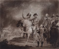Prints, HIS MAJESTY REVIEWING THE THIRD OR PRINCE OF WALES'S REGIMENT OFDRAGOONS. 19th century. Engraving. 22 x 25-...