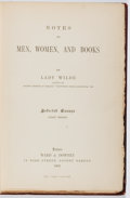 Books:Books about Books, Lady Wilde. Notes on Men, Women, and Books. Ward & Downey, 1891. Hinges cracked. Bookplate. Spine label abraded. Goo...