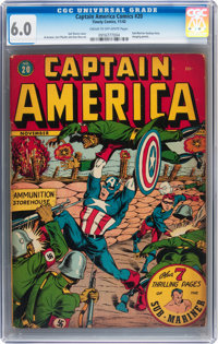 Captain America Comics #20 (Timely, 1942) CGC FN 6.0 Cream to off-white pages