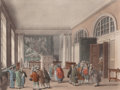 Prints, BRITISH EXCISE OFFICES, BROAD STREET, LONDON. 1810. Color aquatint. Figures by Thomas Rowlandson (British, 1756-1827) and a...