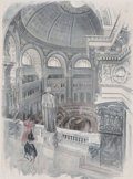 Prints, UNDER THE DOME OF THE NEW CONGRESSIONAL LIBRARY, WASHINGTON,D.C.. 19th century. 20 x 13-1/2 inches (50.8 x 34.3 ...