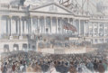 Prints, LINCOLN, PRESIDENT-ELECT, READING HIS INAUGURAL ADDRESS.1861. 15 x 21 inches (38.1 x 53.3 cm). Frank Le...
