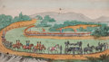 Prints, THE FUNERAL PROCESSION OF BONAPARTE. 19th century. 5-1/2 x8-1/4 inches (14.0 x 21.0 cm). Color engraving. Elton Hyder...