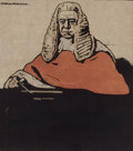 Prints, WILLIAM NICHOLSON . Sir Henry Hawkins. 11 x 9-3/4 inches (27.9 x 24.8 cm). Color lithograph. Elton Hyder III Colle...