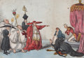 Prints, RECEIVING ABSOLUTION FOR PAST HERESIES. 18th century. 9-1/2x 13 inches (24.1 x 33.0 cm). Color etching. E...