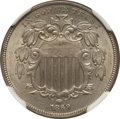 Shield Nickels: , 1869 5C MS63 NGC. CAC. NGC Census: (74/251). PCGS Population(94/208). Mintage: 16,395,000. Numismedia Wsl. Price for probl...