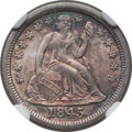 Seated Dimes: , 1845 10C MS64 NGC. NGC Census: (31/16). PCGS Population (24/5).Mintage: 1,755,000. Numismedia Wsl. Price for problem free ...