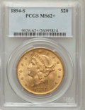Liberty Double Eagles: , 1894-S $20 MS62+ PCGS. PCGS Population (1444/836). NGC Census:(1767/616). Mintage: 1,048,550. Numismedia Wsl. Price for pr...