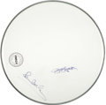 Music Memorabilia:Autographs and Signed Items, Beatles - George Harrison and Paul McCartney Signed Drumhead....