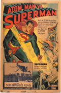 Movie/TV Memorabilia:Posters, Atom Man vs. Superman Poster Signed by Kirk Alyn (Columbia,1950)....