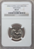 Statehood Quarters, 2004-D 25C Wisconsin Extra Leaf High MS67 NGC. FS-5901....
