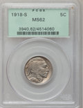 Buffalo Nickels, 1918-S 5C MS62 PCGS....