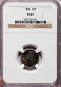 Proof Roosevelt Dimes: , 1954 10C PR67 NGC. NGC Census: (396/448). PCGS Population (494/76).Mintage: 233,300. Numismedia Wsl. Price for problem fre...