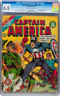 Captain America Comics #13 (Timely, 1942) CGC FN+ 6.5 Cream to off-white pages