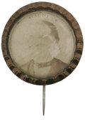 "Political:Ferrotypes / Photo Badges (pre-1896), Most Unusual 1876 Samuel Tilden Portrait Pin With Photo UnderGlass. High ""dome"" glass covering, as in varieties found for G..."