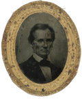 "Political:Ferrotypes / Photo Badges (pre-1896), ""George Clark Ambrotype"" Lincoln 1860 Campaign Badge. This is thelargest (2"" x 2.5"") and one of the most important of all A..."