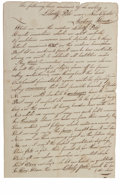 """Books:Pamphlets & Tracts, War of 1812 Handwritten Manuscript. 7"""" x 11"""", one page, handwrittenmanuscript of the events concerning the establishment of..."""
