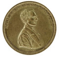 Political:Tokens & Medals, 1860 Lincoln Rail Splitter Brass Token. Measures 28mm. This was one of the most popular medals made for the election of 1860...