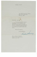 Miscellaneous:Other, Herbert Hoover typed letter signed, dated June 22, 1959. The ...