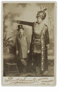 Antiques:Black Americana, A Fun Pair of Cabinet Cards Illustrating Well Dressed Men This pairof cabinet cards depicts a tall man in fancy dress and a...