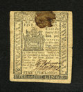 Colonial Notes:Delaware, Delaware May 1, 1777 5s About New. A very high grade example from this much scarcer issue which has a single horizontal fold...