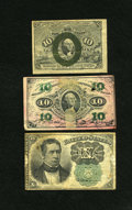 Fractional Currency:Fifth Issue, Fr. 1244 10c Second Issue Fine. Fr. 1255 10c Third Issue VG. Fr.1264 10c Fifth Issue VG.. The Fr. 1255 shows a pink... (Total: 3notes)