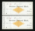 Miscellaneous:Other, Denver, CO- German National Bank Unused Checks Two Examples 188_.The revenue stamp for these checks has been redeemed accor...(Total: 2 items)