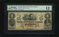 Canadian Currency: , Clifton, Canada West- Bank of Western Canada $4 Sept. 20, 1859 Ch.795-10-12. This Fine 12 example graded by PMG carries...