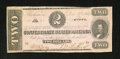 Confederate Notes:1862 Issues, T54 $2 1862. This is a nicely preserved note with edges that do notcome in contact with the frame line except briefly in on...