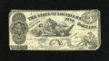 Obsoletes By State:Louisiana, Baton Rouge, LA- State of Louisiana $5 Oct. 10, 1862. This Lazy 5 depicts the South striking down the Union. Fine....