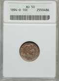 Barber Dimes: , 1894-O 10C AU50 ANACS. NGC Census: (5/36). PCGS Population (8/50).Mintage: 720,000. Numismedia Wsl. Price for problem free...