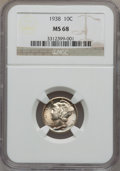 Mercury Dimes: , 1938 10C MS68 NGC. NGC Census: (9/0). PCGS Population (2/0).Mintage: 22,198,728. Numismedia Wsl. Price for problem free NG...
