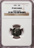 Proof Roosevelt Dimes: , 1951 10C PR68 Cameo NGC. NGC Census: (81/6). PCGS Population (7/0).Numismedia Wsl. Price for problem free NGC/PCGS coin i...