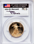 Modern Bullion Coins, 2012-W $25 Half-Ounce Gold Eagle, Insert autographed By John M.Mercanti,12th Chief Engraver of the U.S. Mint, First Stri...